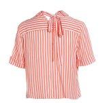Sommer-Streifen-runde Stutzen-Kurzschluss-Hülsen-frische Dame-Hemden
