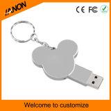 Palillo de plata vendedor caliente del USB del metal del mecanismo impulsor del flash del USB de Mickey