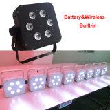 Luz sin hilos de la etapa de la batería barata DMX de 6in1 Rgabwuv 18W