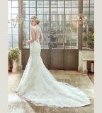 Vestido de boda blanco del tirante de espagueti Backless de la gasa de la playa