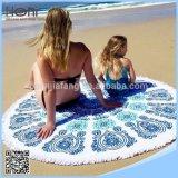 Essuie-main 100% de plage rond estampé de cercle de couverture de plage de mandala de coton