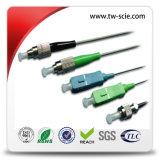 Sc LC FC APC 0.9mm 2.0mm 3.0mm 단순한 싱글모드 광섬유 연결관