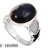 Jóias de anel de prata de design novo 925 com CZ preto