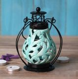 Unico scavare fuori il supporto di candela di ceramica di disegno con il coperchio