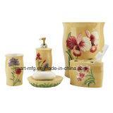 Blumen-Handlack-keramisches Badezimmer-Zusatzgerät/Bad-Zusatzgerät/Badezimmer-Set