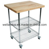 3 صفاح معدن مطبخ حامل متحرّك/عربة مع لوح خيزرانيّ ([تر6035903ك])