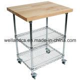 Вагонетка/тележка кухни металла 3 ярусов с Bamboo доской (TR603590A3C)