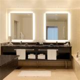 Miroir allumé par éclairage de la salle de bains DEL de projet d'hôtel de tenture