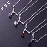 Silber überzogen ringsum purpurroter Kubikzirconia-hängende Halskette für Mädchen