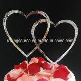 Cappello a cilindro della torta di cerimonia nuziale del cuore di Doube del Rhinestone per la decorazione della torta