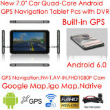 "Tabuleta Android PCS do navegador do GPS do carro do ósmio "" do toque 7.0 capacitivo novo magro com o carro DVR de Digitas da caixa negra do carro 2CH, gravador de vídeo cheio do carro de HD108p, câmera de estacionamento"