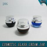 frasco 20g cosmético de vidro ambarino com tampa do metal