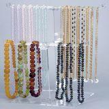 Étalage acrylique clair de bijou de collier de bracelet de T-Barre de 2 rangées