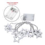 Lumières féeriques de chaîne de caractères de décoration de Noël de batterie en bois d'intérieur blanche d'étoile