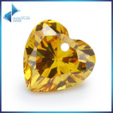 Hole Yellow Heart Shape CZ Gemstone