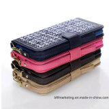 iPhoneおよびSamsungのための贅沢な格子縞の布の札入れの箱