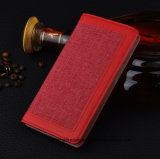 Tecido de linho PU Wallet Cell Phone Case para iPhone Leather Flip Case