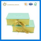 Rectángulo de regalo de papel impreso color de lujo de la dimensión de una variable del libro con el Closing del nudo de la cinta (fábrica de China)