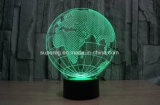 Globe 3D LED Illusion Night Light com lâmpada de mesa de 7 cores