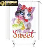 Tenda di acquazzone sveglia del gatto del tessuto poco costoso su ordinazione grazioso