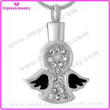 Flügel mit Kristall-Verbrennung-Schmucksache-Anhänger-Urne-Halskette für Asche