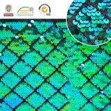 Tessuto del poliestere di Emboridy del Rhombus del Sequin della scala