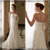 Vestido de casamento Sleeveless de perolização Chiffon do vestido nupcial da praia