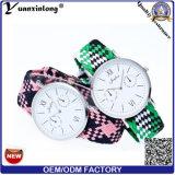 Relógio de pulso simples à moda da forma Yxl-231 para relógios de couro europeus de quartzo do diamante das mulheres dos homens de negócio do OEM