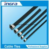 O PVC de alta elasticidade revestiu as cintas plásticas L tipo laços do fecho de correr do aço inoxidável