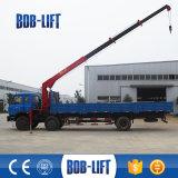Gru montata camion telescopico idraulico dell'asta con la benna della gru a benna