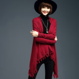 Lady Fashion Viscose Knitted Fringe Winter Cardigan (YKY2065)