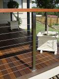 Woodern Handrails를 가진 강철 Rope Stair Railing