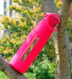 De hete Verkopende Fles van de Sport van het Water van het Glas met Fles van het Glas van de Koker van het Silicium de Draagbare