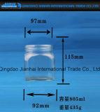 Frasco de vidro do atolamento dos produtos vidreiros quadrados do frasco da forma