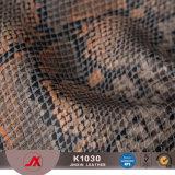袋のためのPUののどの革を浮彫りにするSnakeskinパターンレザーPVC総合的な革