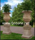 POT di fiore di marmo intagliato marmo bianco (MFP-004)