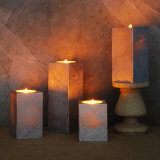 In het groot Bewegende LEIDENE van de Was van de Kunst van het Effect van het Metaal van de Vlam Vierkant Gevormde Kaarsen