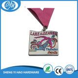 Medalla de plata de la forma de la bici de la plata plateada antigua de los deportes