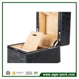 Caixa de jóia de madeira do diodo emissor de luz da grão do jacaré da alta qualidade