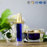 Frasco de creme cosmético acrílico plástico da alta qualidade de prata luxuosa do quadrado do ouro para cosméticos