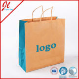 Saco azul do presente do papel de embalagem Dos sacos da modificação de Eco da flor com punho da torção ou o punho liso