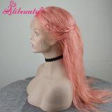 Peluca llena del cordón del pelo brasileño de la Virgen de Glueless del color de rosa de bebé