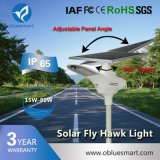 Luz de rua ao ar livre solar do diodo emissor de luz 2017 com o painel solar ajustável