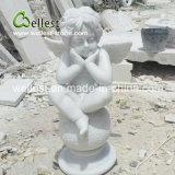 Естественная каменная скульптура камня ангела для сада и фонтана