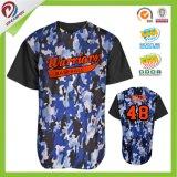 Camisola em branco barata do basebol de Jersey do basebol de Camo do poliéster do engranzamento do Sublimation 100%