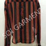 女性縞のプリントによって隠されるPlacketの方法不足分様式のワイシャツ(SH-06)