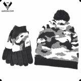 남자의 겨울 군은 자카드 직물 니트 모자와 장갑을 위장한다