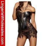 """Espartilho """"sexy"""" preto do couro do falso das mulheres e da roupa interior do laço de Veneza"""