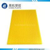 Кристаллический желтая полая панель толя поликарбоната с UV предохранением
