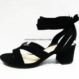 Zapatos medios fornidos de la sandalia del talón del nuevo diseño con la punta del pío